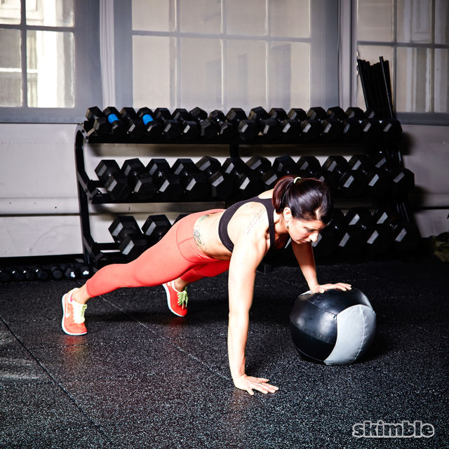 How to do: Medicine Ball Offset Push-Ups - Step 4