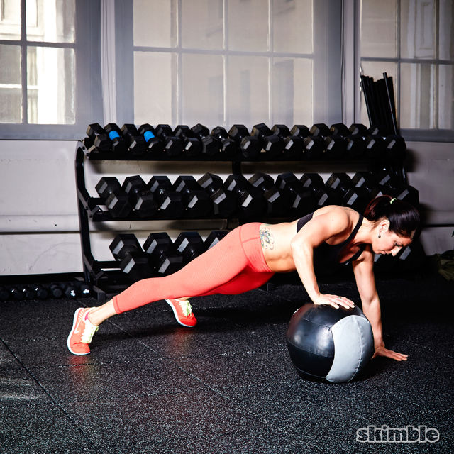 How to do: Medicine Ball Offset Push-Ups - Step 2