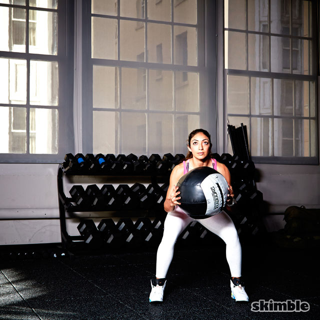 How to do: Medicine Ball Side Step Squats - Step 4