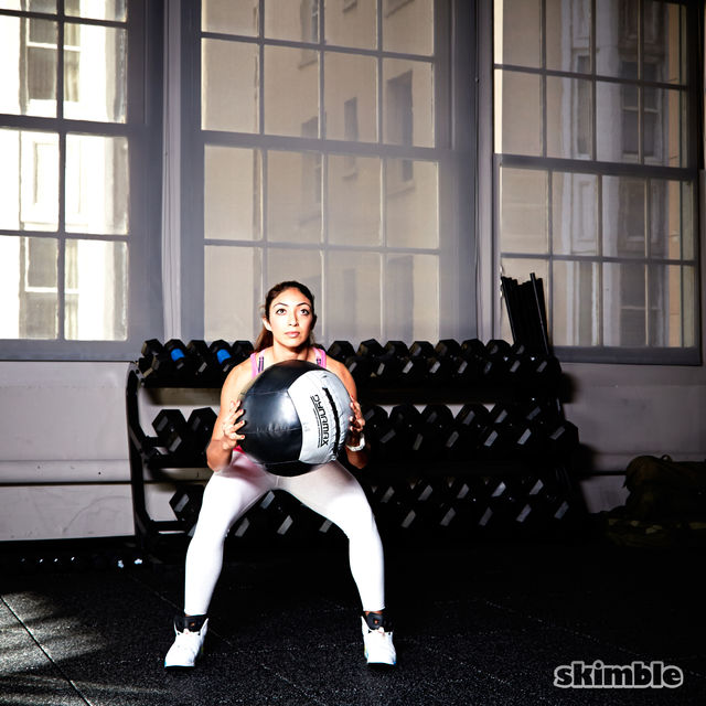 How to do: Medicine Ball Side Step Squats - Step 2