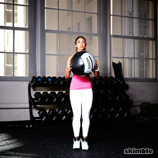 How to do: Medicine Ball Side Step Squats - Step 1
