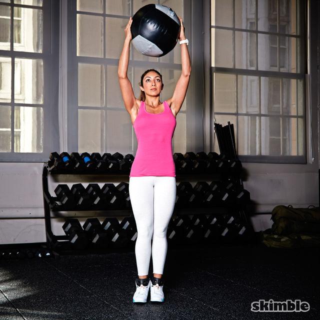 How to do: Medicine Ball Side Step Squat to Press - Step 3