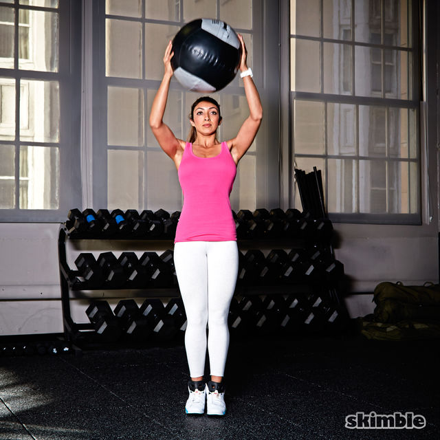 Medicine Ball Side Step Squat to Press - Exercise How-to - Workout