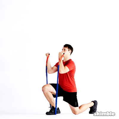 Right Lunge with Bicep Curl with Band