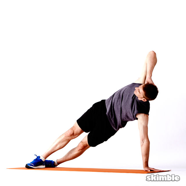 How to do: Right Elbow to Opposite Knee Side Plank - Step 4