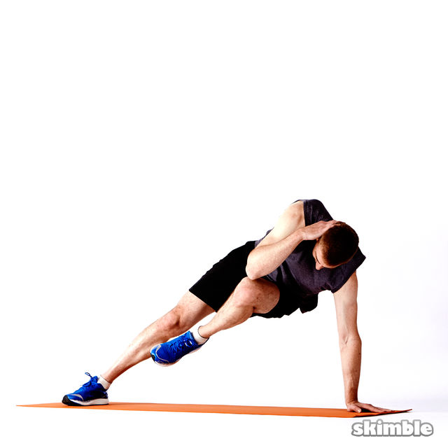How to do: Left Elbow to Opposite Knee Side Plank - Step 3
