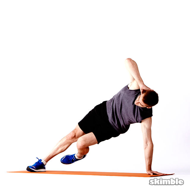 How to do: Right Elbow to Opposite Knee Side Plank - Step 2