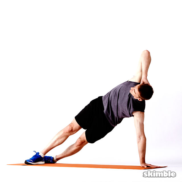 How to do: Right Elbow to Opposite Knee Side Plank - Step 1