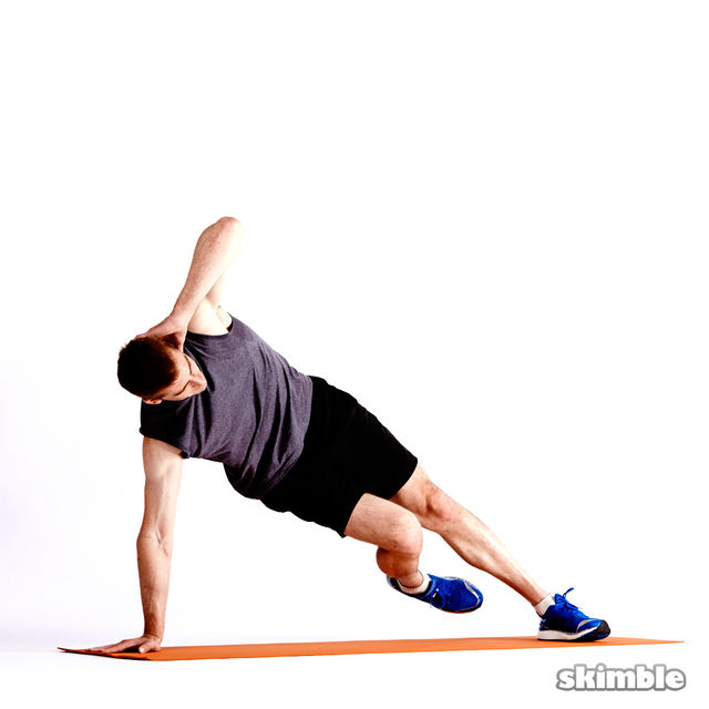 How to do: Left Elbow to Opposite Knee Side Plank - Step 2