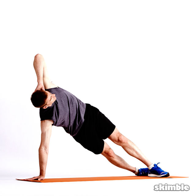How to do: Left Elbow to Opposite Knee Side Plank - Step 1