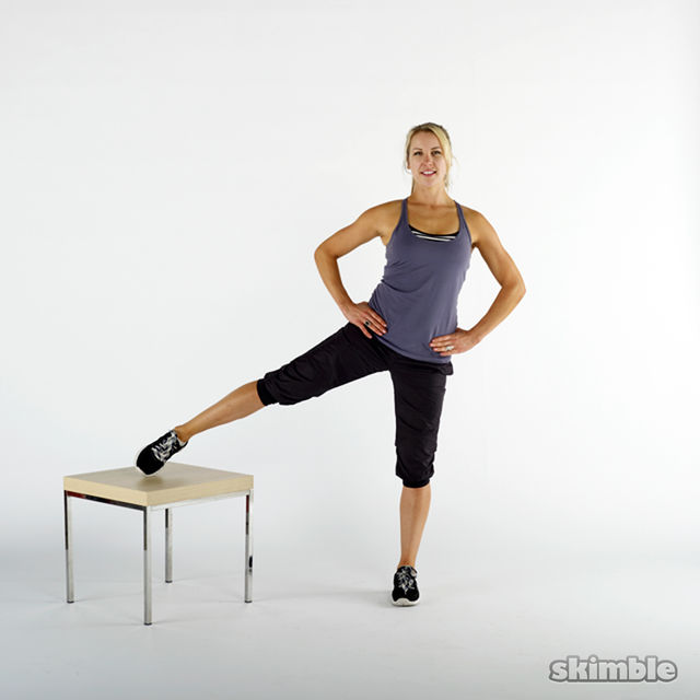 How to do: Right Leg Lifts on a Bench - Step 1