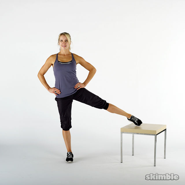 How to do: Left Leg Lifts On A Bench - Step 1