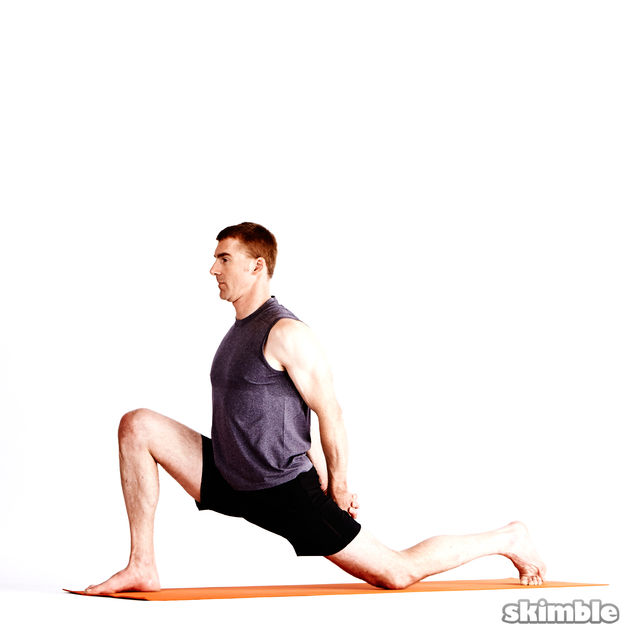 How to do: Right Low Lunge with Clasped Hands - Step 2