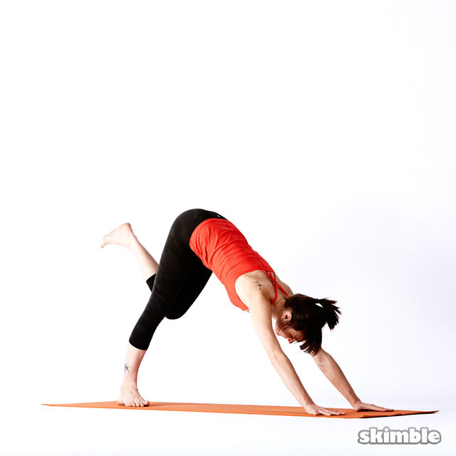 How to do: Right Downward Dog Scorpion - Step 2