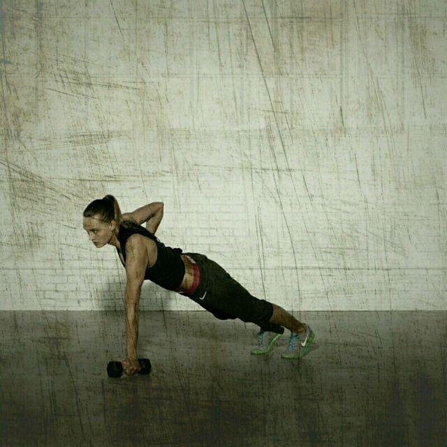 How to do: High Plank Row Shoulder Press - Step 2