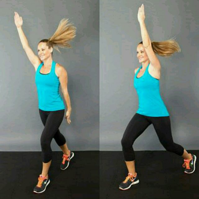 How to do: Split Jumps With Arm Front Raise - Step 1