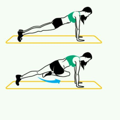 Knee To Opposite Elbow - High Plank