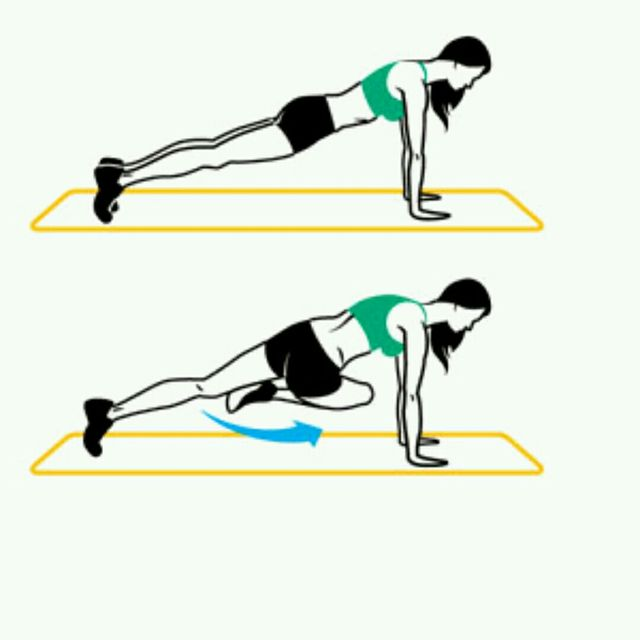 How to do: Knee To Opposite Elbow - High Plank - Step 1