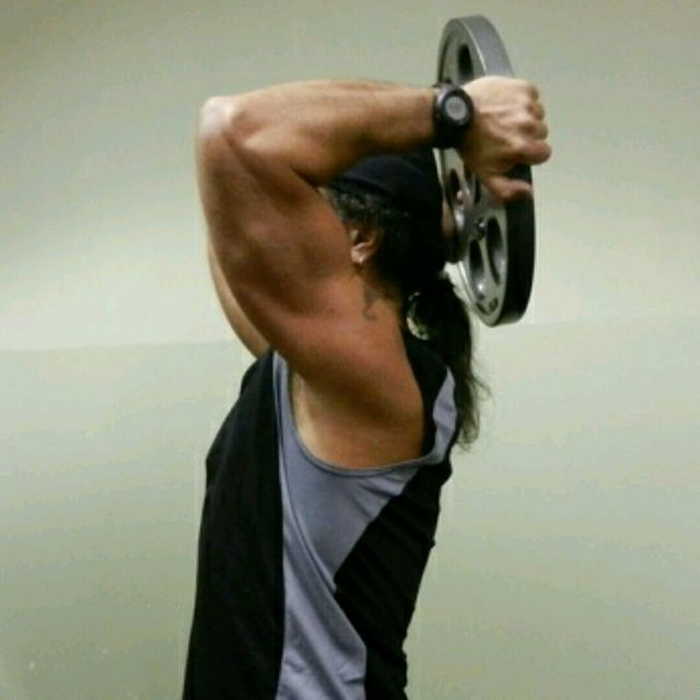 Overhead Plate Triceps Extension - Exercise How-to - Workout ...
