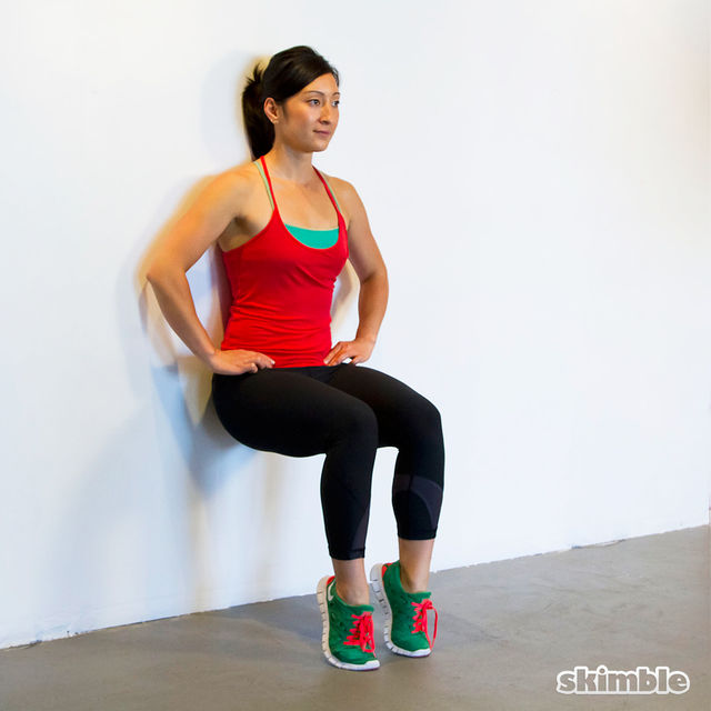 How to do: Wall Sits with Heel Ups - Step 2