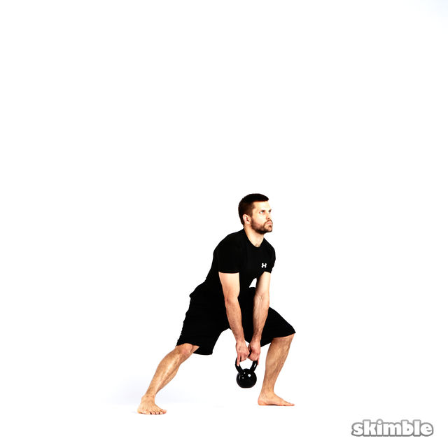 How to do: Left Lateral Lunge with Kettlebell - Step 4