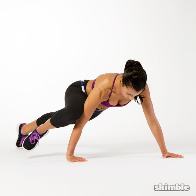 How to do: Staggered Arm Spiderman Push-Ups - Step 4