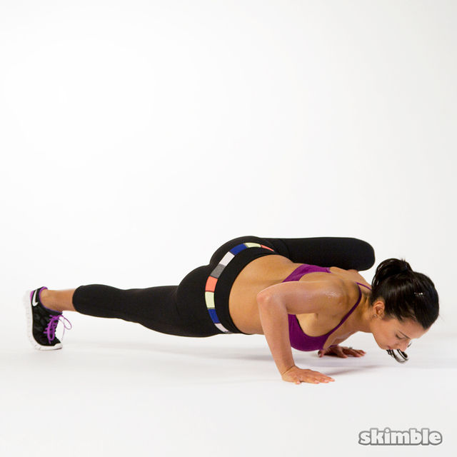 How to do: Staggered Arm Spiderman Push-Ups - Step 3