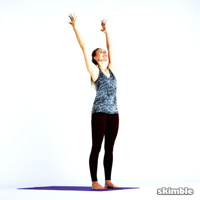 Mountain Pose With Raised Pray Hands (keep Hands Clasped)