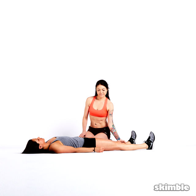 How to do: Buddy Hamstring Stretches - Step 1