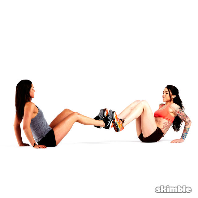 How to do: V-Sit with Foot Press - Step 1
