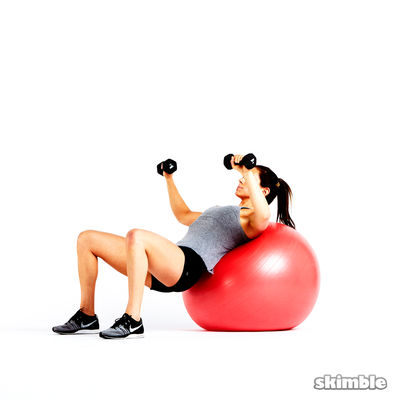 Single Arm Stability Ball Incline Press