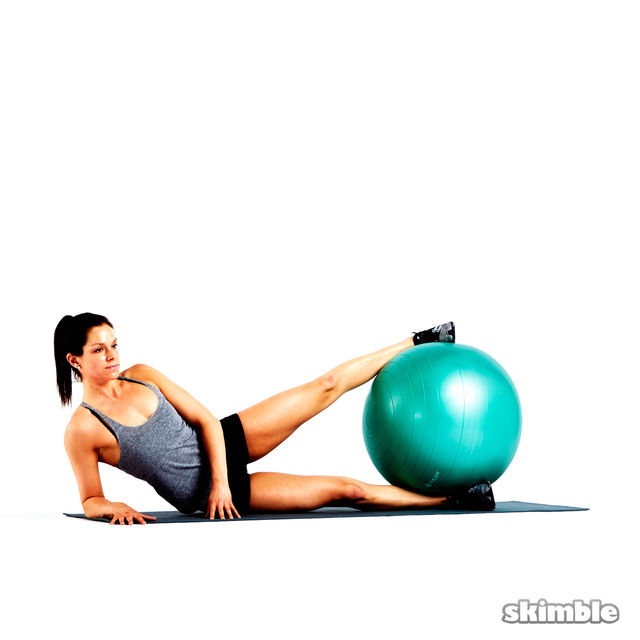 Stability Ball Side Lift: Left Side Ball Raises