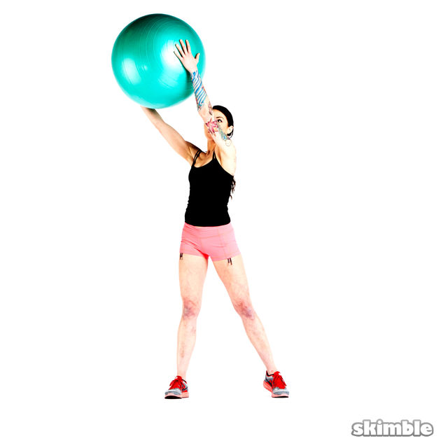 How to do: Squats with Ball Reaches - Step 3
