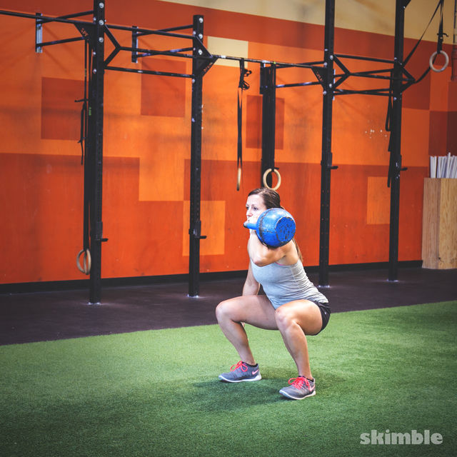 How to do: Left Kettlebell Squat Clean Thrusters - Step 2