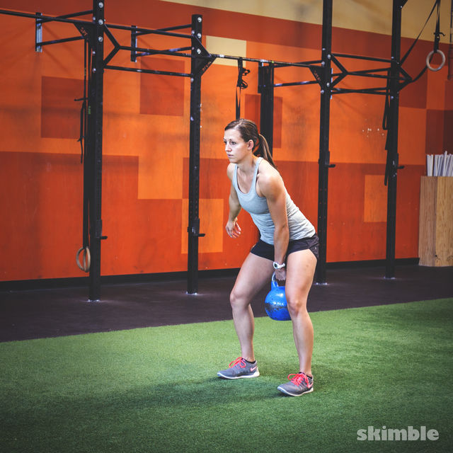How to do: Left Kettlebell Squat Clean Thrusters - Step 1