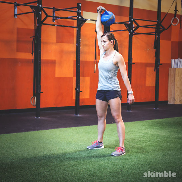How to do: Right Kettlebell Squat Clean Thrusters - Step 3