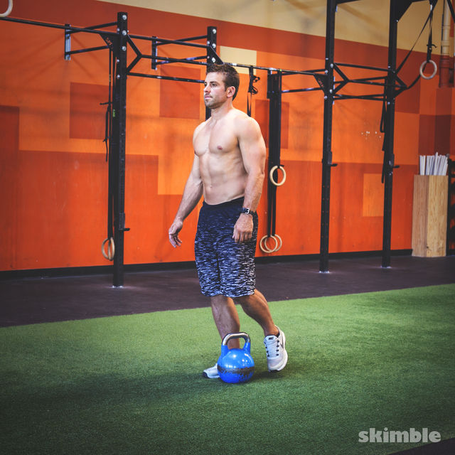 How to do: Right Romanian Kettlebell Deadlifts - Step 1