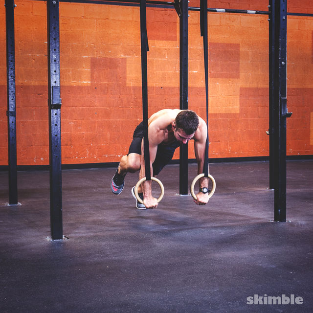 How to do: Ring Plank Knee Draw - Step 2
