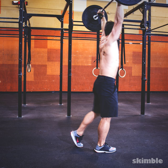 How to do: Overhead Barbell Walk - Step 2