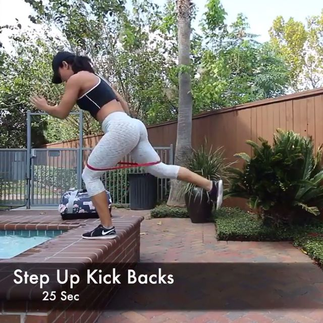 How to do: Step Up Kick Backs With Band - Step 1