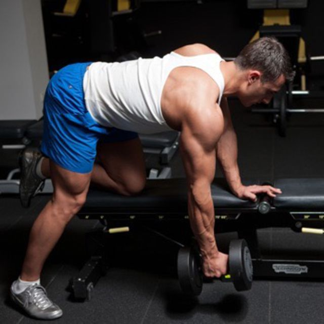 How to do: One Arm Dumbbell Rows (Right) - Step 1