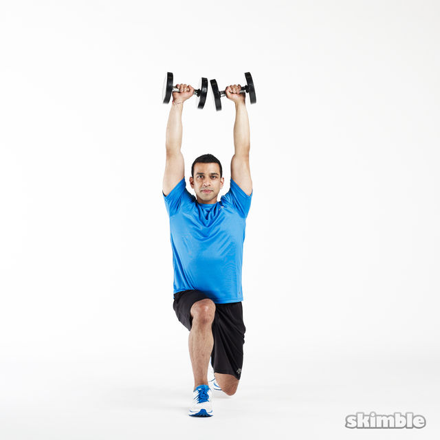 How to do: Lunge to Shoulder Press - Step 8