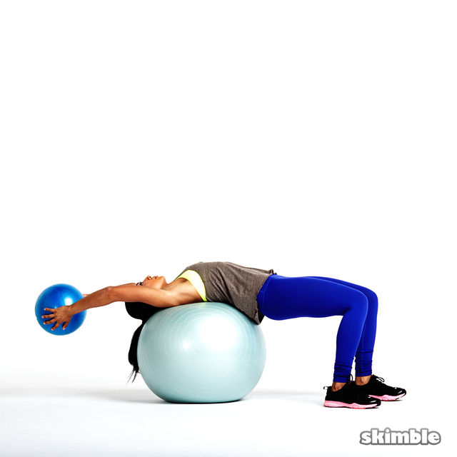 How to do: Medicine Ball Pullovers on Stability Ball - Step 1
