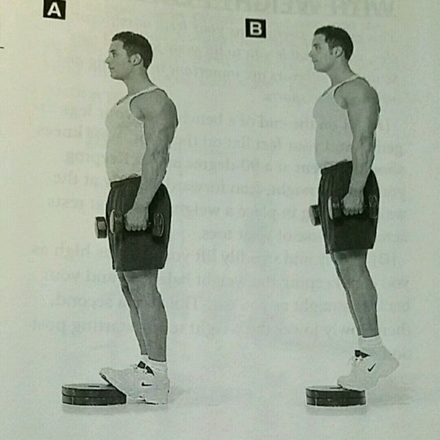 How to do: Heel Raise With Dumbbells - Step 1