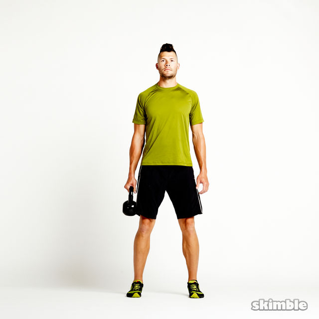 How to do: Right Suitcase Squats with Kettlebell - Step 2