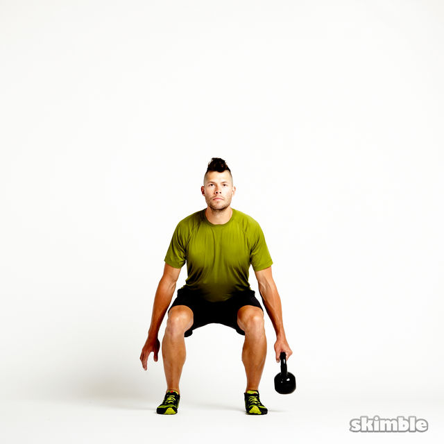 How to do: Left Suitcase Squats with Kettlebell - Step 2