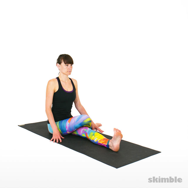 How to do: Cow Face Pose with Left Leg Straight - Step 2