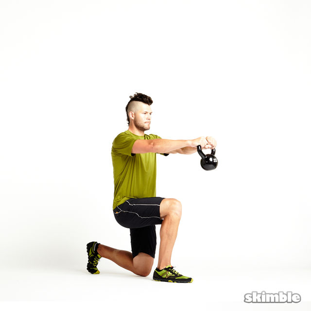 How to do: Right Lunge with Kettlebell Raise - Step 1