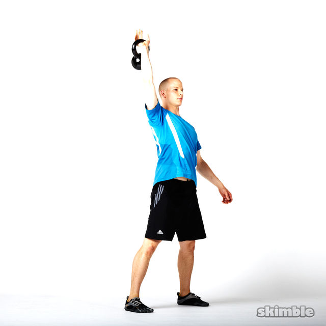 How to do: Right Kettlebell Squat Clean Thrusters - Step 6