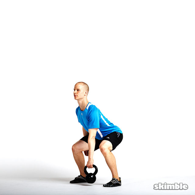 How to do: Left Kettlebell Squat Clean Thrusters - Step 4